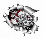Ripped Torn Metal Design With Skeleton Climbing From Grave Motif External Vinyl Car Sticker 105x130mm